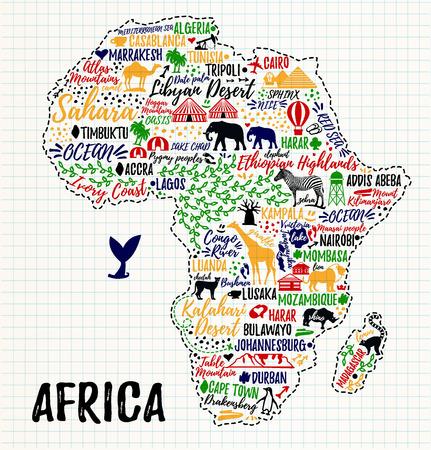 Plakat typografii. Mapa Afryki. Przewodnik Afryka podróży Ilustracje wektorowe