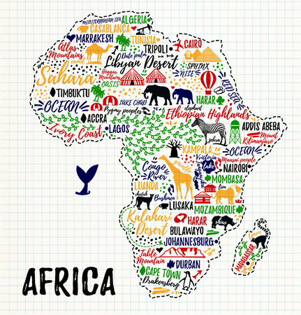 Typography poster. Africa map. Africa travel guide Stok Fotoğraf - 61800813