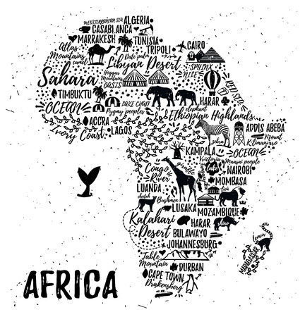 travel guide: Typography poster. Africa map. Africa travel guide
