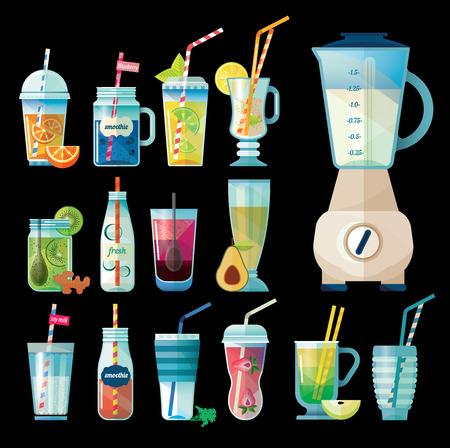 cocteles de frutas: La colección de bebidas de la salud. smoothie vegetariano en frascos de vidrio. Berry, semillas, verduras, ensaladas de fruta. Las bebidas de desintoxicación y una dieta saludable. Ilustración del vector. Vectores