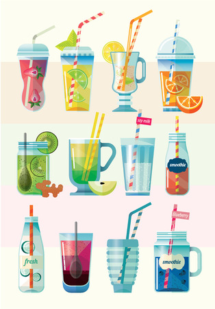woman drinking milk: The collection of health drinks. Vegetarian smoothie in glass jars. Berry, seed, vegetables, fruit cocktails. Drinks for detox and healthy diet. Vector Illustration.