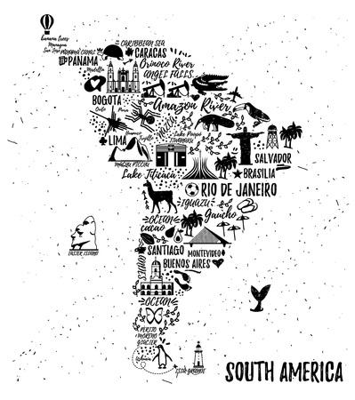 cartel de la tipografía. Mapa de América del Sur. guía de viaje de América del Sur. Ilustración de vector