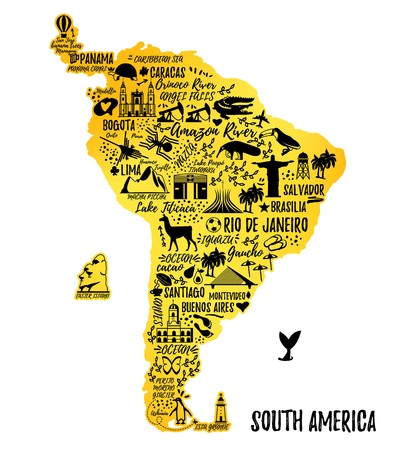 waterfall in forest: Typography poster. South America map. South America travel guide.