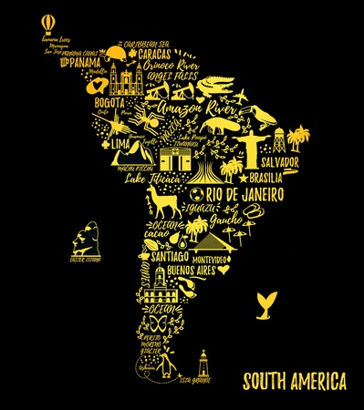 travel guide: Typography poster. South America map. South America travel guide.