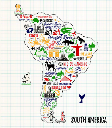 Affiche de Typographie. carte Amérique du Sud. Guide de Voyage en Amérique du Sud. Vecteurs