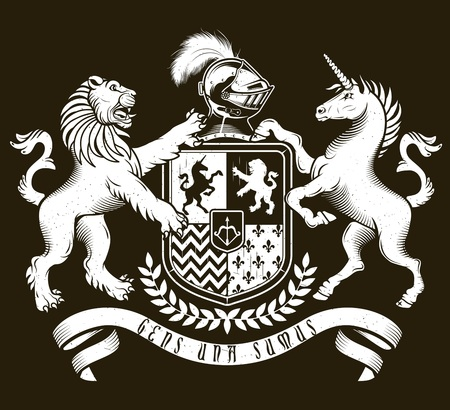 Vector heraldic illustration in vintage style with shield, crown, unicorn and lion for design Ilustrace