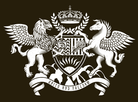 royal family: Vector heraldic illustration in vintage style with shield, crown, Griffin and Pegasus for design Illustration