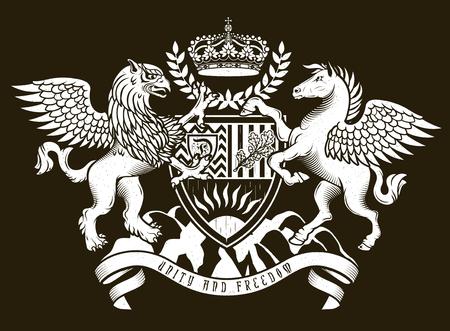 Vector heraldyczny ilustracji w stylu vintage z tarczą, koroną, Griffin i Pegasus do projektowania Ilustracje wektorowe