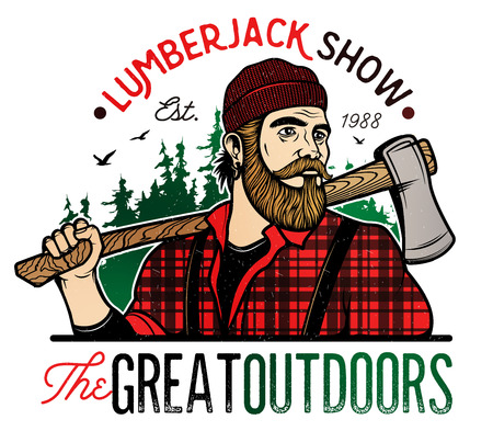 lumberjack: Lumberjack Template. Lumberjack mascot holding the axe. Vector Design Illustration.