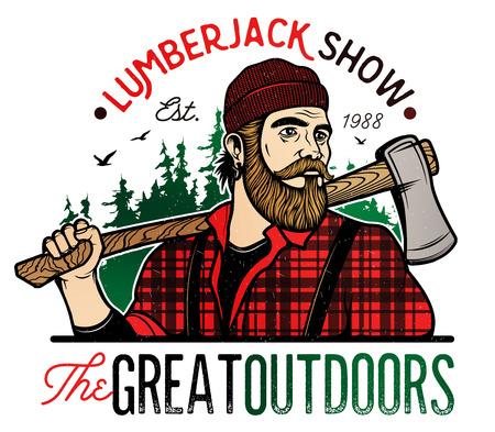 tree log: Lumberjack Template. Lumberjack mascot holding the axe. Vector Design Illustration.