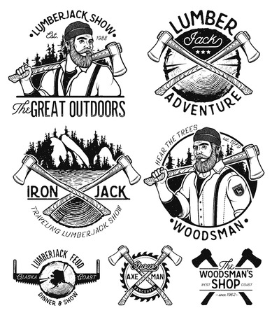 Lumberjack Template. Lumberjack mascot holding the axe. Vintage sawmill set labels badges and design elements isolated on white background. Vector Design Illustration. Vettoriali