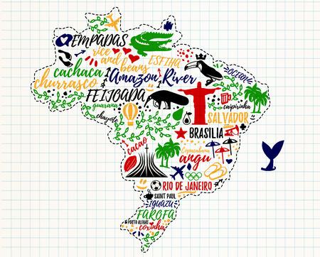 ブラジル、旅行アイコンの地図。ベクトルの図。