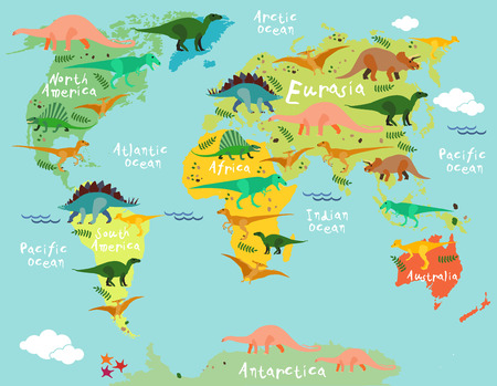 Dinosaurs map of the world for children and kids Stock Illustratie