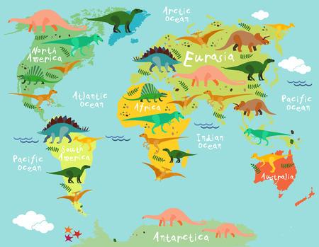 Dinosaurs kaart van de wereld voor kinderen en kinderen