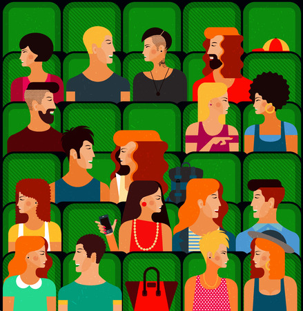 gay men: Flat People Sitting in the Cinema and Watching a Movie. Vector Illustration. Cute vector character people. Seamless Pattern. Illustration