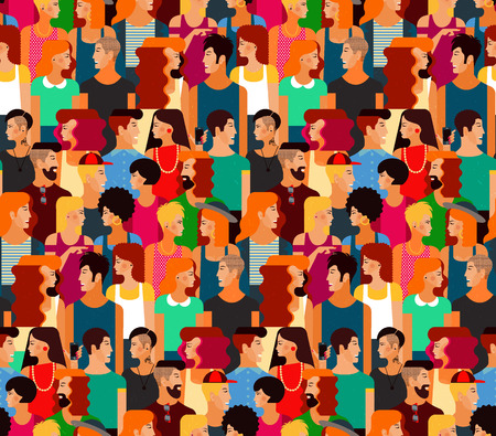 gossiping: Seamless Vector Pattern with a Crowd of Young People. Flat design, vector illustration.