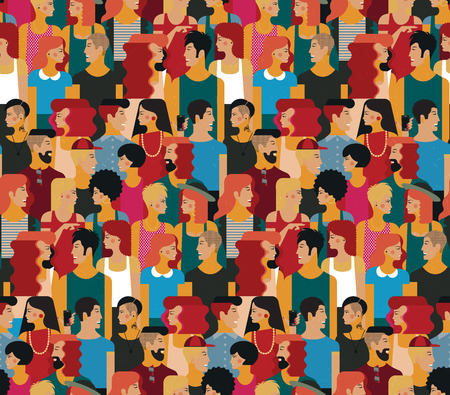 Seamless Vector Pattern with a Crowd of Young People. Flat design, vector illustration.