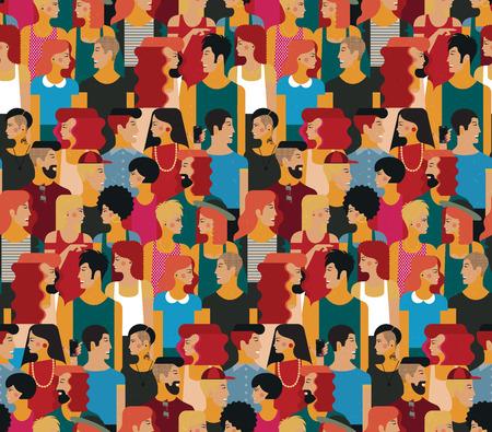Wektor bez szwu deseń z tłumem młodych ludzi. Płaska konstrukcja, ilustracji wektorowych. Ilustracje wektorowe