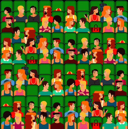 gay couple: Flat People Sitting in the Cinema and Watching a Movie. Vector Illustration. Cute vector character people. Seamless Pattern. Illustration