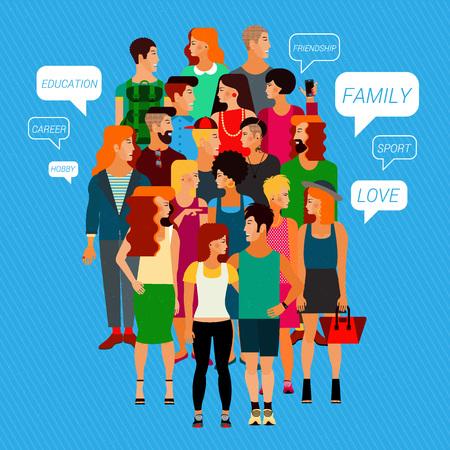 obra social: Vector plano Ilustración de miembros de la sociedad con un grupo grande de jóvenes de ambos sexos. Población. Vectores