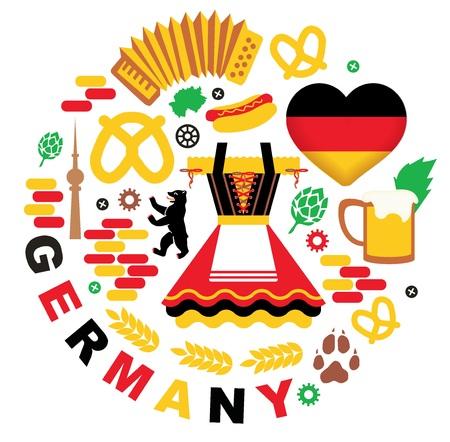 comida alemana: Alemania elementos de la colección. el festival Oktoberfest. ilustración vectorial