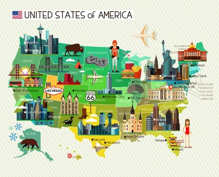 usa: Map of the United States of America and Travel Icons. Vector Illustration.