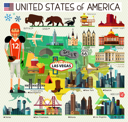 Vector Set of Various United States of America Icons Illustration