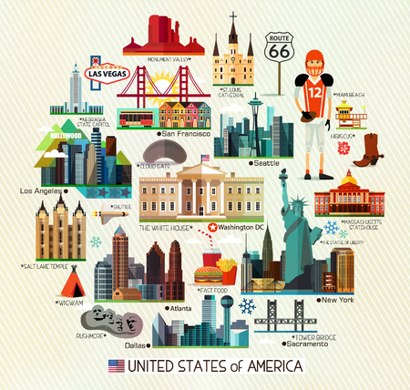 Vector Set of Various United States of America Icons on a Circle Shape.