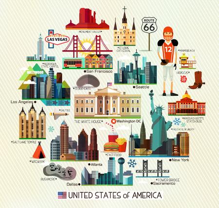Vector Set Verschillende Verenigde Staten van Amerika Pictogrammen Op Een Cirkelvorm.