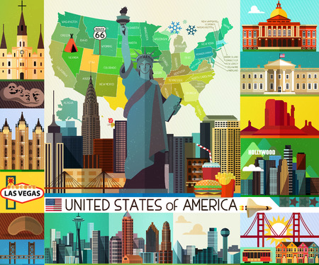 seattle: Vector Set of Various United States of America Icons Illustration