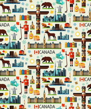 Canada Travel Pattern. Vector illustration. Illustration of Canada Sightseeings.  イラスト・ベクター素材