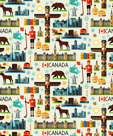 Canada Travel Pattern. Vector illustration. Illustration of Canada Sightseeings. Иллюстрация
