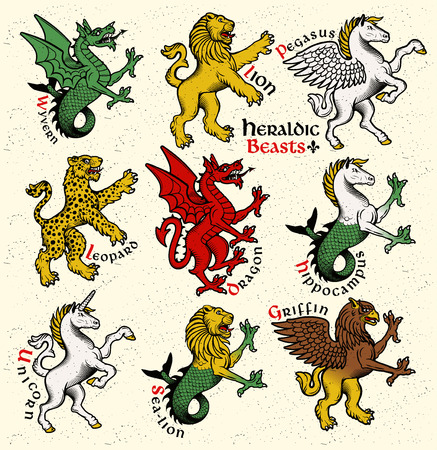 Vector heraldic beasts illustration in vintage style. Çizim