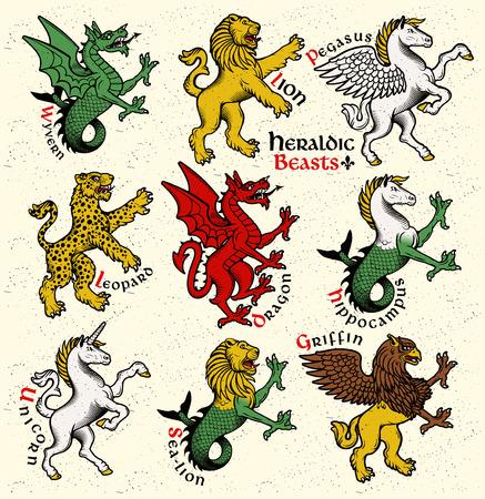 heraldic symbols: Vector heraldic beasts illustration in vintage style. Illustration