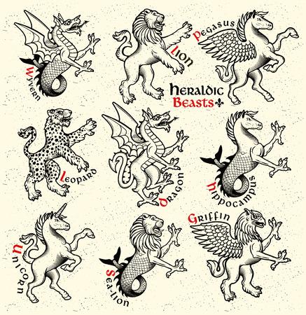 Vector heraldic beasts illustration in vintage style. Vectores