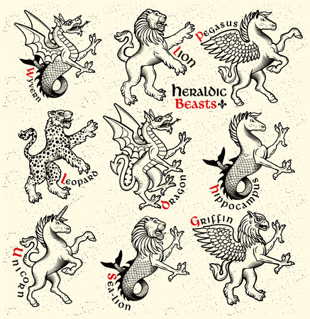 Vettoriale animali araldici illustrazione in stile vintage.