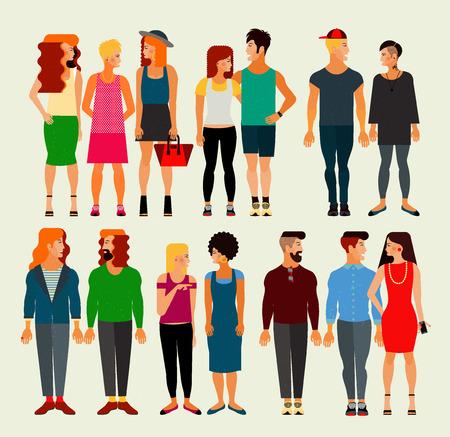 若い男性と女性の大規模なグループの社会のメンバーのベクトル フラット イラスト。人口。  イラスト・ベクター素材