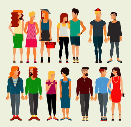 young women: Vector Flat Illustration of Society Members with a Large Group of Young Men and Women. Population.