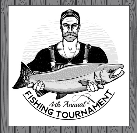 chinook: Fisherman Holding a Silver Salmon Fish. Vector Illustration.