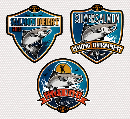 Salmon Fishing emblemen, labels en design-elementen. Vector illustratie. Stock Illustratie