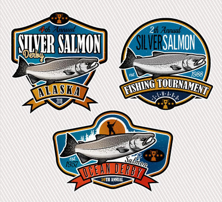Lachsfischen Embleme, Etiketten und Design-Elemente. Vektor-Illustration.