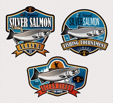Salmon Fishing emblemen, labels en design-elementen. Vector illustratie. Stock Illustratie