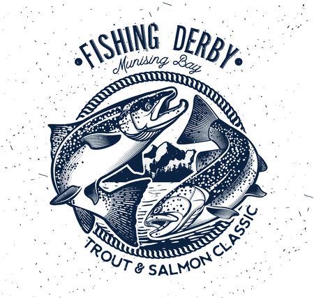 trout: Vintage Trout and Salmon Fishing Emblem. Vector Illustration
