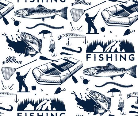Modelo con los emblemas de pesca del salmón, etiquetas y elementos de diseño Foto de archivo - 67131226