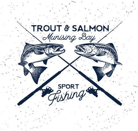 ビンテージのマスや鮭釣りエンブレム。ベクトル図  イラスト・ベクター素材