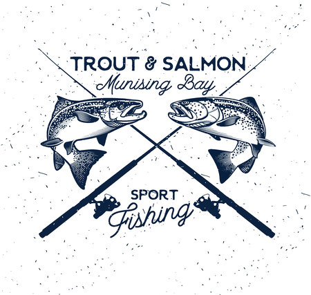 Vintage Trout and Salmon Fishing Emblem. Vector Illustration Фото со стока - 67433425