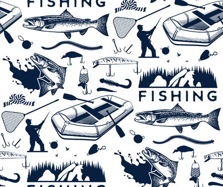 salmon fishing: Pattern with salmon fishing emblems, labels and design elements
