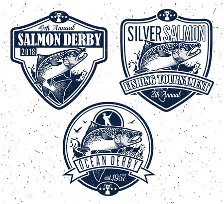 angling rod: Salmon Fishing emblems, labels and design elements. Vector illustration.