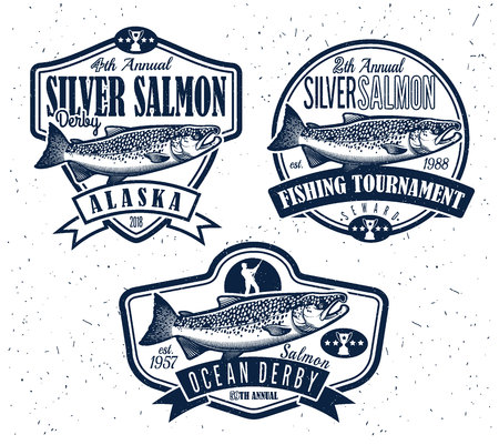 white salmon river: Salmon Fishing emblems, labels and design elements. Vector illustration.