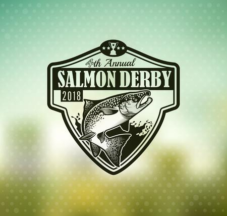fly fisherman: Salmon Emblem on Blur Background. Vector Illustration.